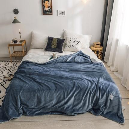 北欧雪兔绒毛毯被子绒毯子加厚双层法兰绒毯沙发盖毯马尾藻蓝