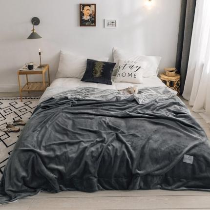 北欧雪兔绒毛毯被子绒毯子加厚双层法兰绒毯沙发盖毯莫拉灰