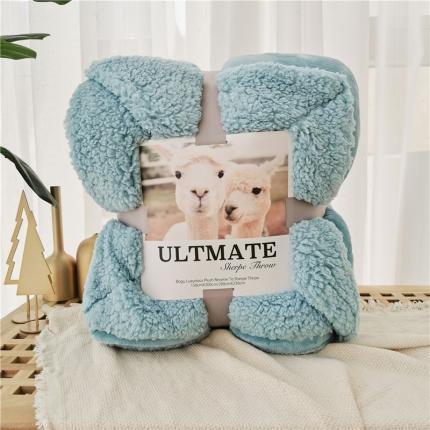 卜古马卡龙双层羊羔绒毛毯加厚单双人盖毯珊瑚绒毯子蔚蓝