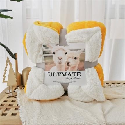 卜古马卡龙双层羊羔绒毛毯加厚单双人盖毯珊瑚绒毯子奥斯丁黄
