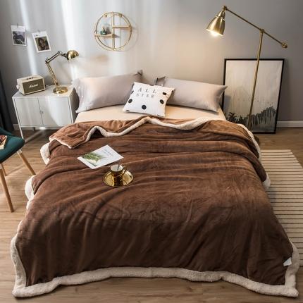 北欧单层加厚保暖法兰绒羊羔绒包边毛毯午睡毯子纯色盖毯朗姆尼咖