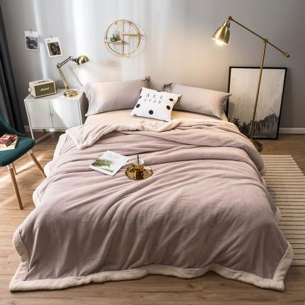北欧单层加厚保暖法兰绒羊羔绒包边毛毯午睡毯子纯色盖毯马洛灰