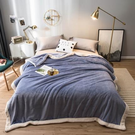 北欧单层加厚保暖法兰绒羊羔绒包边毛毯午睡毯子纯色盖毯浅草紫