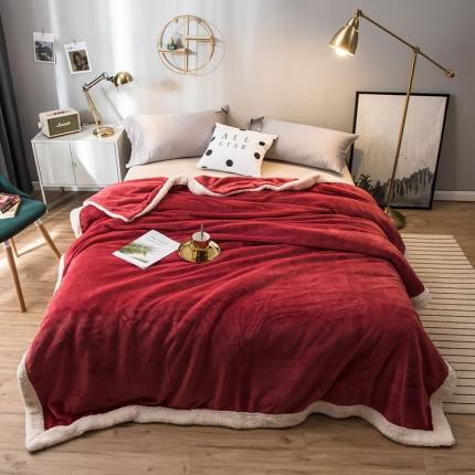 北欧单层加厚保暖法兰绒羊羔绒包边毛毯午睡毯子纯色盖毯浅酒红