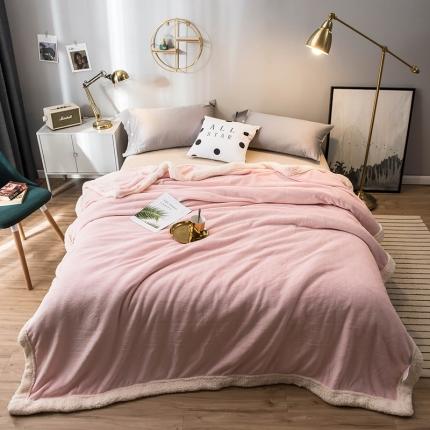 北欧单层加厚保暖法兰绒羊羔绒包边毛毯午睡毯子纯色盖毯维密粉