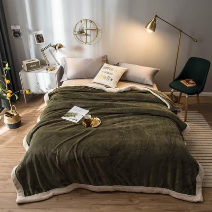 北欧单层加厚保暖法兰绒羊羔绒包边毛毯午睡毯子纯色盖毯祖母绿