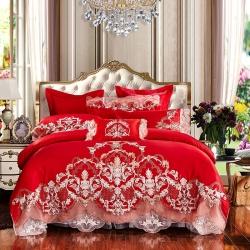 笑咪咪婚慶結婚床上用品全棉提花繡花四件套六件套九件套盛世風華
