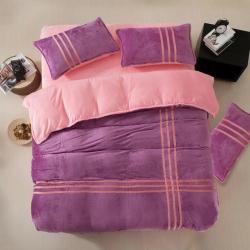 诗睿家纺 法莱绒运动风四件套魅紫粉