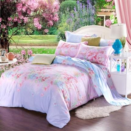 米兰家纺 天丝四件套床单款 粉色情怀