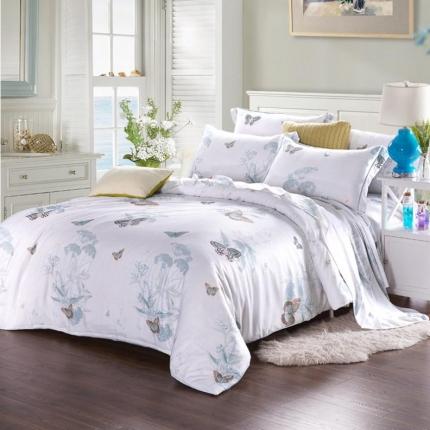米兰家纺 天丝四件套床单款 花都美梦