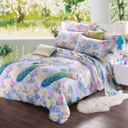 米兰家纺 天丝四件套床单款 孔雀曼舞
