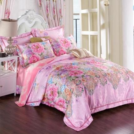 米兰家纺 欧式美提加印皇家经典套件如梦花季粉红(高档手提袋)