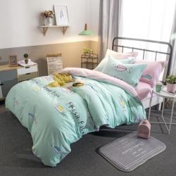 朴尔家纺  活性印染全棉大版简约单品被套水手-绿
