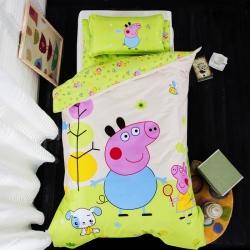 乐秀家纺 全棉卡通幼儿园被子三件套纯棉六件套含芯 小猪佩奇
