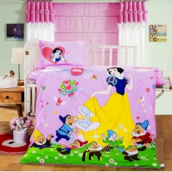 乐秀家纺 全棉卡通儿童幼儿园被子三件套纯棉六件套含芯公主之恋