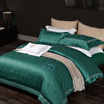 卓慕家纺 高支高密纯棉提花四件套贵族风范系列贵族风范-墨绿