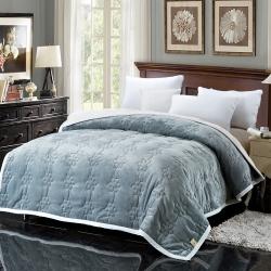 法兰家纺法兰绒加厚毛毯繁花被毯毛毯繁花被毯毛毯 灰色