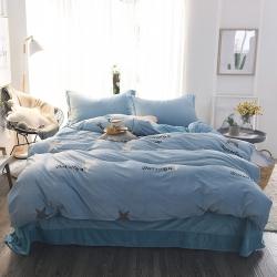 真怡家纺 温暖舒适水晶绒四件套群星密度-蓝