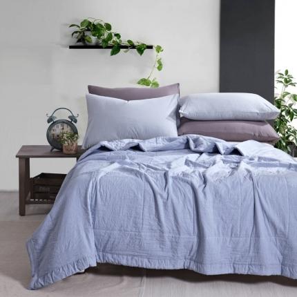 织美家纺 水洗棉棉花夏凉被天蓝色
