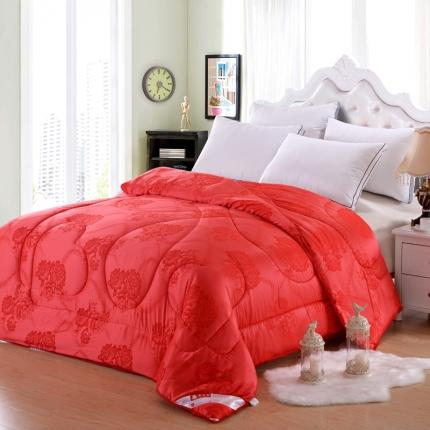 织美家纺 绗缝蚕丝被大红牡丹花
