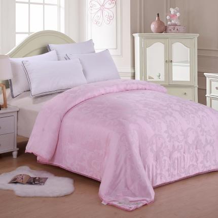 织美家纺 手工定位蚕丝被粉色栀子花