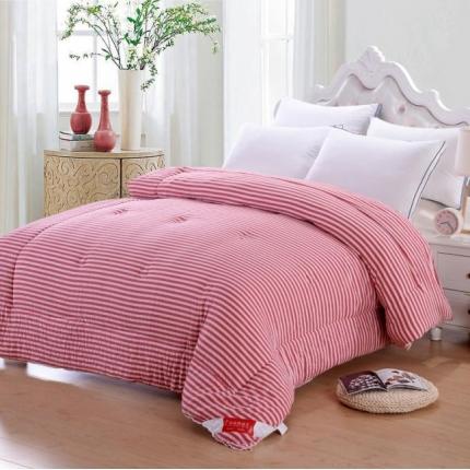 织美家纺 无印良品系列水洗棉冬被红色条纹