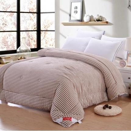 织美家纺 无印良品系列水洗棉冬被咖啡条纹