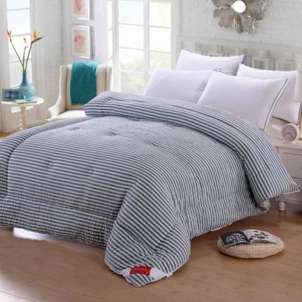 织美家纺 无印良品系列水洗棉冬被蓝灰条纹