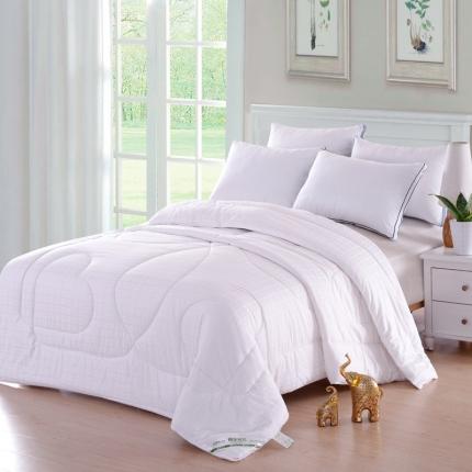 织美家纺 纯棉提花棉花被白色格子