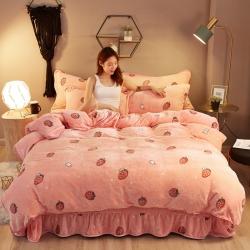 (总)魅图家纺加厚牛奶金貂绒法莱绒四件套水晶绒保暖床裙四件套