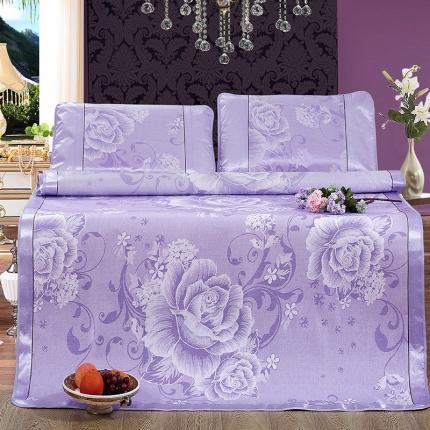 红坊家纺普通冰丝席凉席花团锦簇紫