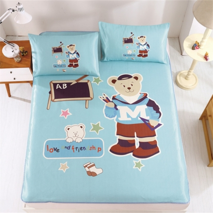 红坊家纺 卡通数码印花冰丝席系列小熊课堂