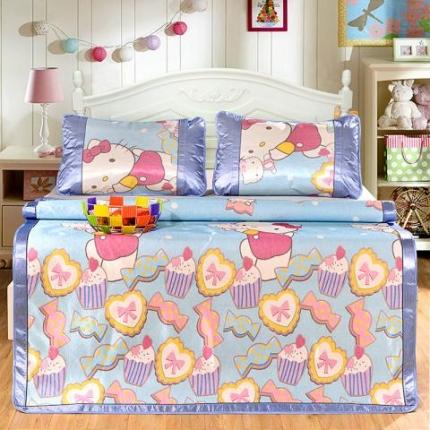 红坊家纺 印花冰丝床单三件套 糖果KT猫-蓝