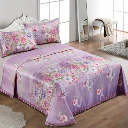 红坊家纺  印花冰丝床单三件套y61紫
