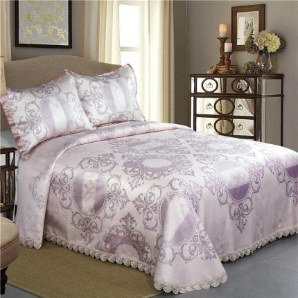 红坊家纺 床单式提花凉席冰丝席三件套  807紫