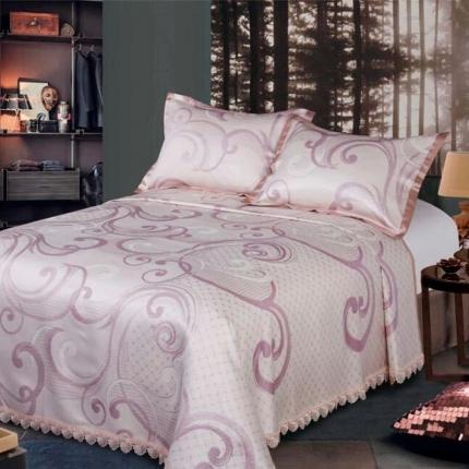 红坊家纺 床单式提花凉席冰丝席三件套 807紫色
