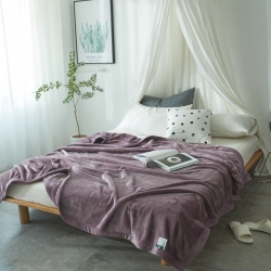 来菲家纺 400克云貂绒毛毯苜蓿天青紫加厚外贸纯色珊瑚绒毯子