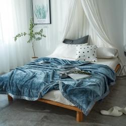 来菲家纺 400克云貂绒毛毯尼亚加拉蓝加厚外贸纯色珊瑚绒毯子