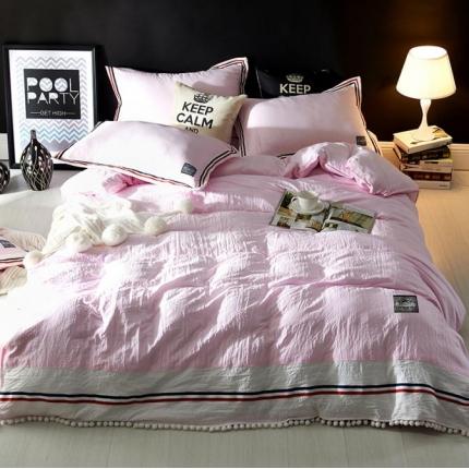 神纤家纺 水洗棉工艺款四件套 粉色