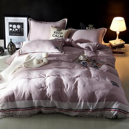 神纤家纺 水洗棉工艺款四件套 浅紫