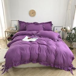常年供貨 絲萊爾家紡 2019新款韓版臻絨棉四件套 紫色