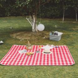 昔可家纺 野餐垫地垫爬爬垫chic韩风系格子粉