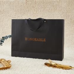 正大包装 300g黑色艺术纸包装礼盒手提袋 52x38x11