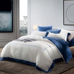 隨性家居 60長絨棉貢緞酒店休閑風高端四件套純白刺繡 經典藍