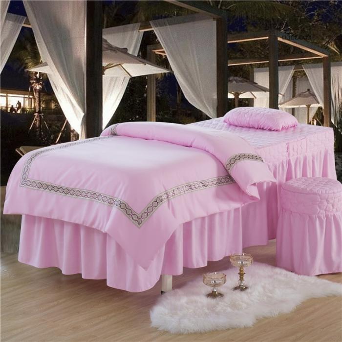 乐逸家纺 欧式花边美容床罩 欧式粉