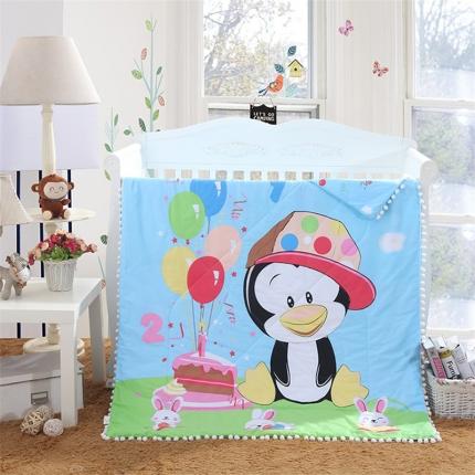 贝贝月家纺 绒球带边款儿童夏被(大版) 企鹅之梦