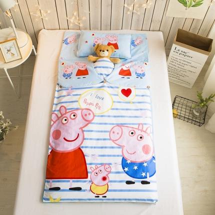 贝贝月家纺 儿童睡袋 条纹小猪佩奇