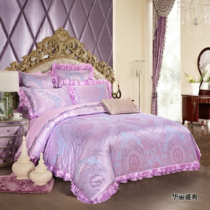 小时代家纺韩版提花床单床盖四件六件套华丽盛典