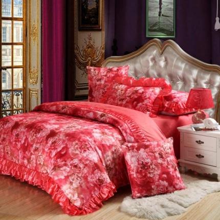 小时代家纺欧式婚庆件床盖四件套六件套情迷英伦