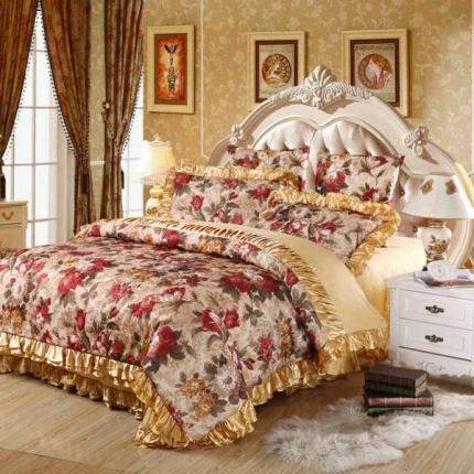 小时代家纺欧式婚庆件床盖六件套